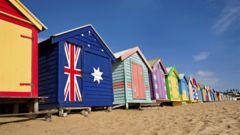 Strandstugorna på Brighton Beach utanför Melbourne.