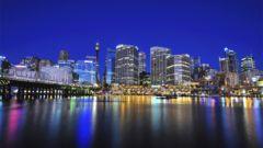 Sydney skyline från Darling Harbor.