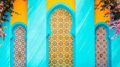Färgrik marockansk arkitektur i Marrakech.